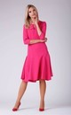 A Line Flared Dress with 3/4 Sleeves in Dark Pink by Bergamo