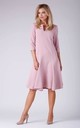 A Line Flared Dress with 3/4 Sleeves in Light Pink by Bergamo