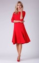 A Line Flared Dress with 3/4 Sleeves in Red by Bergamo