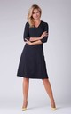 Day Dress with V-Neck and 3/4 Sleeves in Black by Bergamo