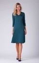 Day Dress with V-Neck and 3/4 Sleeves in Green by Bergamo