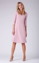 Day Dress with V-Neck and 3/4 Sleeves in Pink by Bergamo