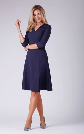 Day Dress with V-Neck and 3/4 Sleeves in Navy Blue by Bergamo