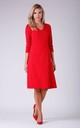 Day Dress with V-Neck and 3/4 Sleeves in Red by Bergamo