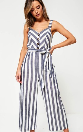 Striped Jumpsuit in Navy by Marc Angelo