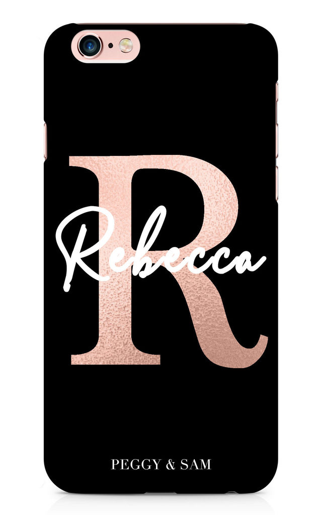Initial Personalised Phone Case in Black/Rose Gold by Peggy and Sam