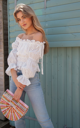 White Broderie Anglaise Off The Shoulder Crop Top by Styled In London Product photo