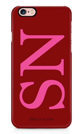 Initials Personalised Phone Case in Maroon by Peggy and Sam