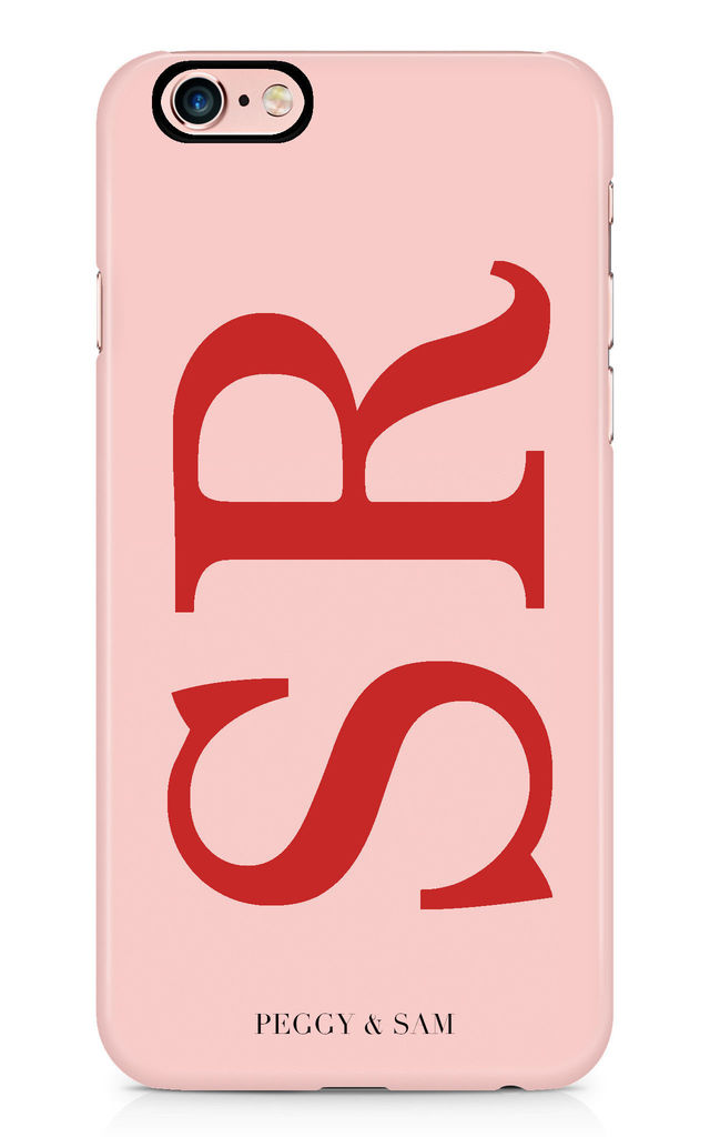 Initials Personalised Phone Case in Pink and Red by Peggy and Sam