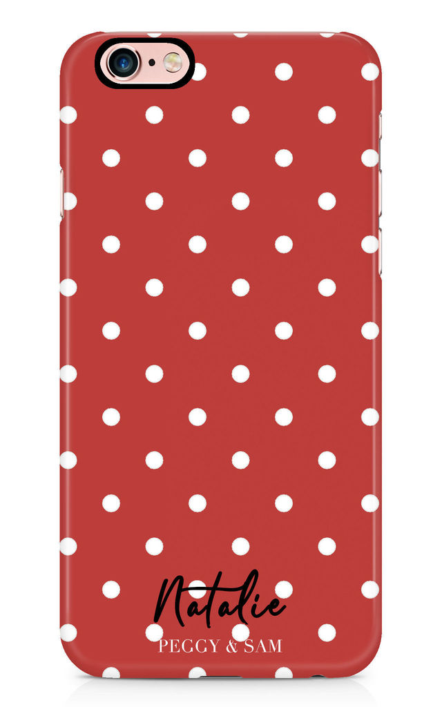 Personalised Phone Case in Red Polka Dots by Peggy and Sam