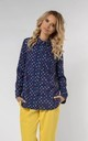 Classic Loose Shirt in Navy Blue with Dots by Bergamo