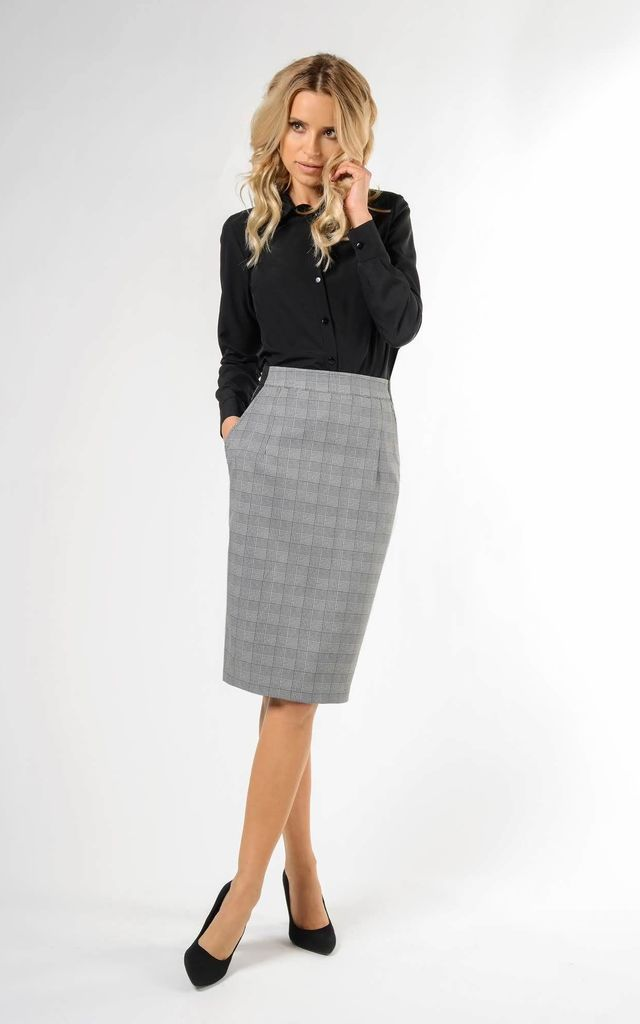 Pencil Skirt with High Waist and Pockets in Grey Check by Bergamo