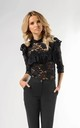 Lace Top with Frill and 3/4 Sleeve in Black by Bergamo