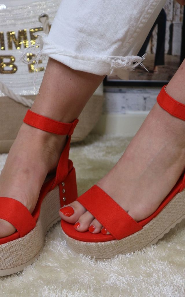 Woven Strappy Flatform in Red by Bond Street Shoe Company