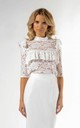 Lace Top with Frill and 3/4 Sleeve in White by Bergamo