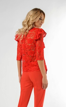 Lace Top with Frill and 3/4 Sleeve in Red by Bergamo