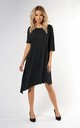 Loose Asymetric Dress with Short Sleeve in Black by Bergamo