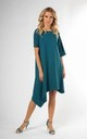 Loose Asymetric Dress with Short Sleeve in Green by Bergamo