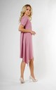 Loose Asymetric Dress with Short Sleeve in Pink by Bergamo