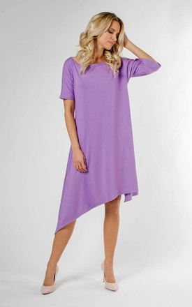 Loose Asymetric Dress with Short Sleeve in Violet by Bergamo
