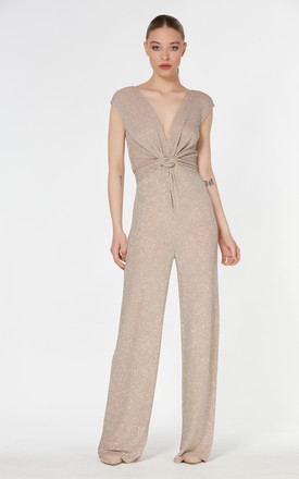 Twist Front Jumpsuit With V Neck In Gold Metallic by Explosion London
