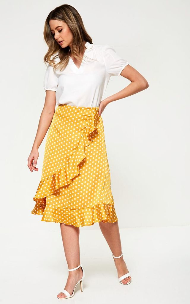 Polka Dot Midi Skirt in Yellow by Marc Angelo