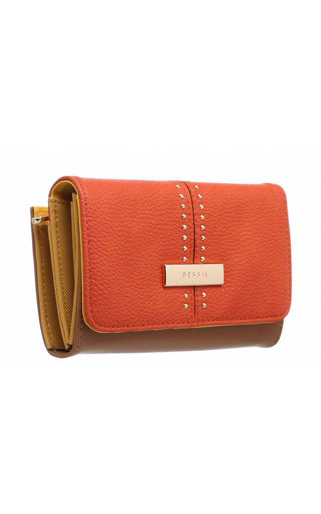 SMALL TWO TONE STUDDED PURSE in ORANGE by BESSIE LONDON