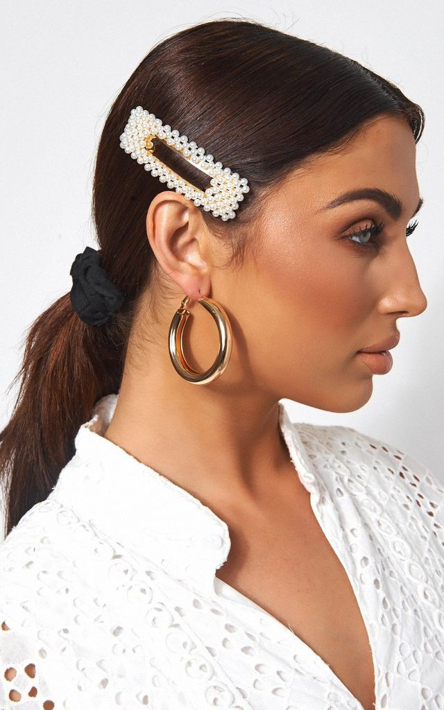 RECTANGLE PEARL HAIR CLIP by The Fashion Bible