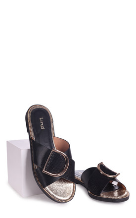 Vegas Black Slip On Slider With Crossover Front Strap & Giant Buckle Detail by Linzi