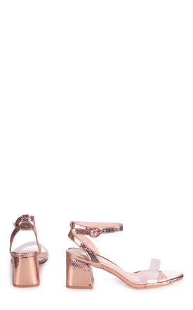 Wish Rose Gold Faux Lizard Perspex Block Heeled Sandal by Linzi