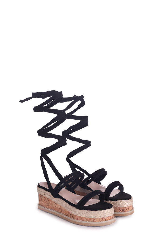 Jules Black Suede Lace Up Espadrille Flatform Sandal by Linzi