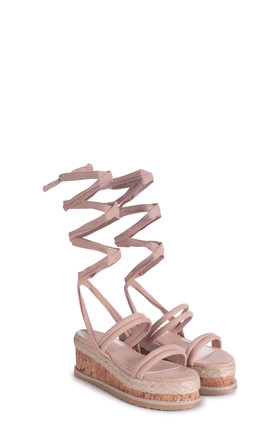 Jules Nude Suede Lace Up Espadrille Flatform Sandal by Linzi