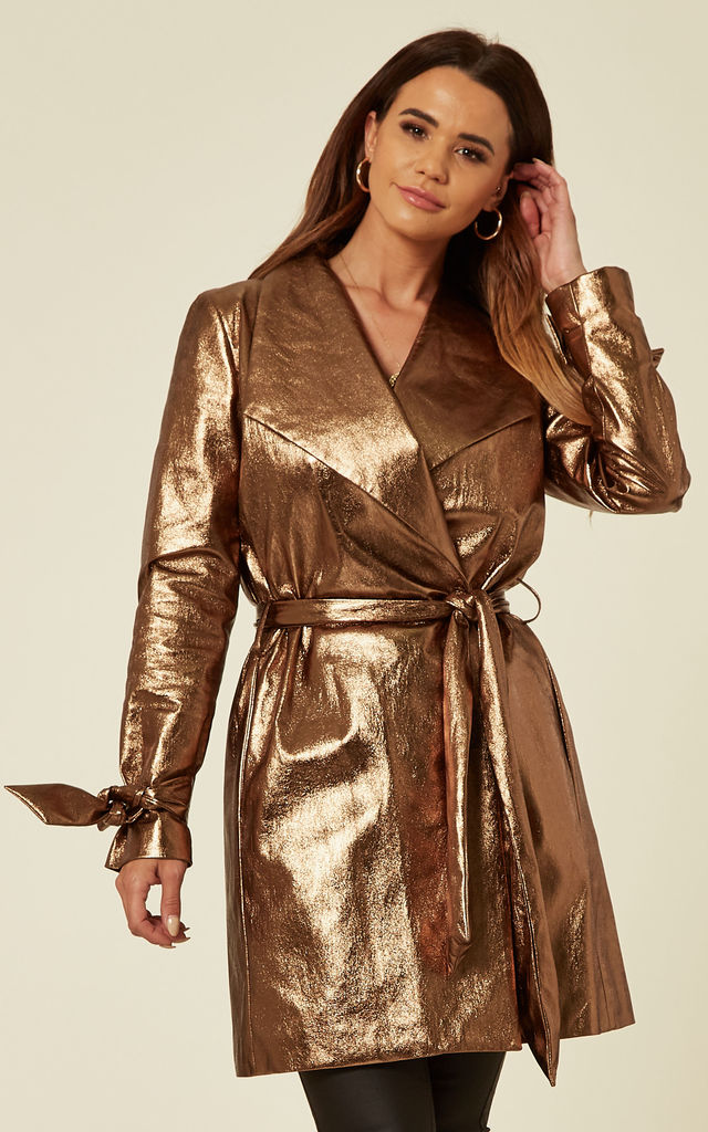 The Harper Faux Leather Trench Coat in Copper by Belles of London