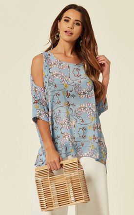 BRETTA - Cold Shoulder Oversize Blue Top by Blue Vanilla
