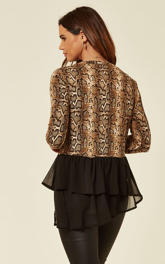 Long Sleeve Top with Layered Hem in Snake Print by The ModestMe Collection