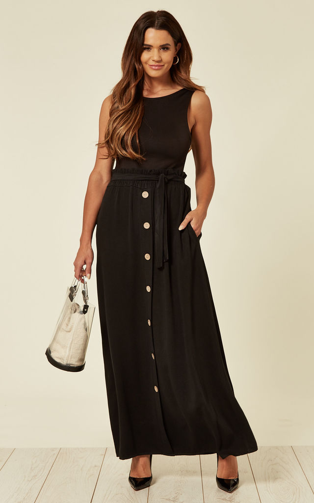 Stretch Maxi Skirt With Buttons and Belt in Black by The ModestMe Collection