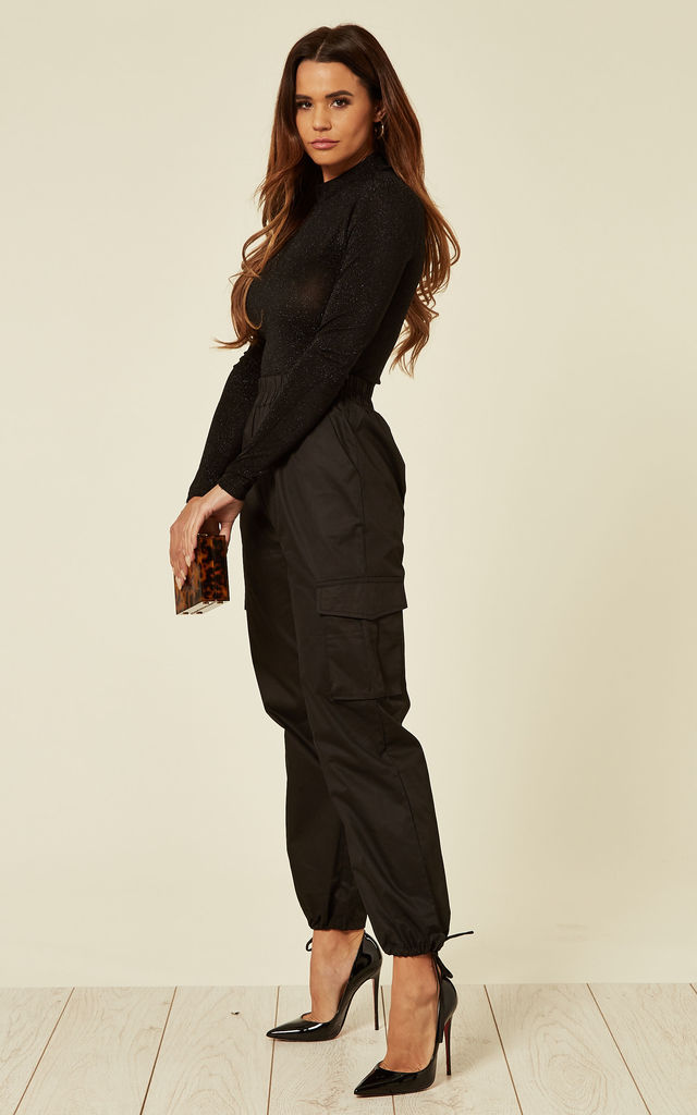 Cargo Trousers with Ankle Ties in Black by The ModestMe Collection