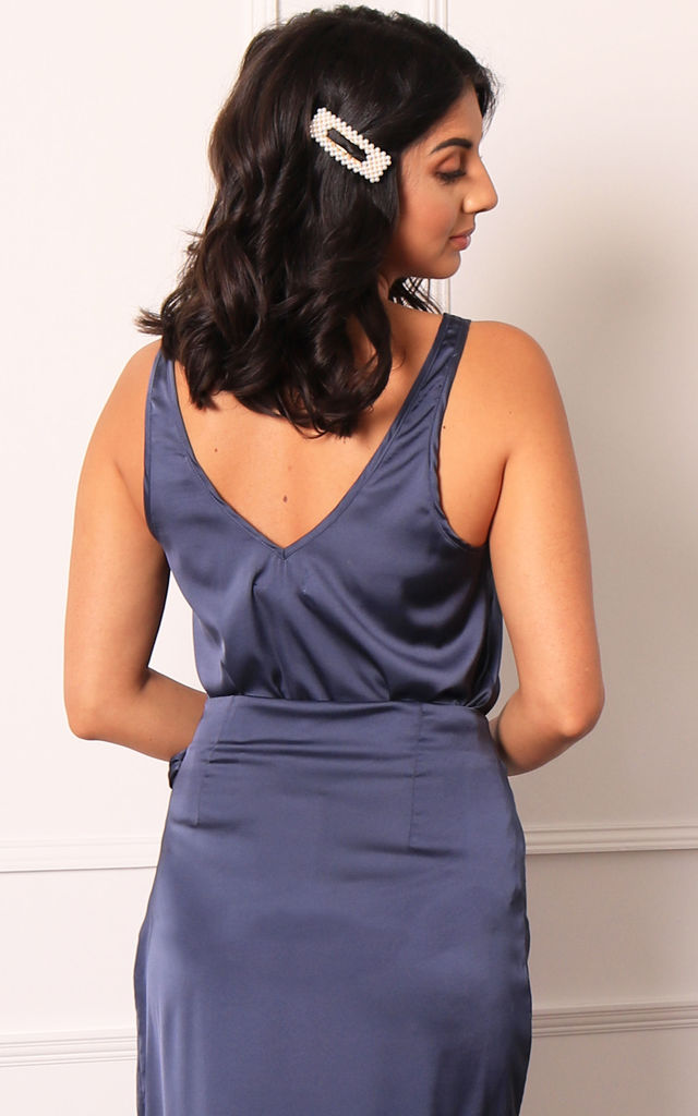 Satin V Neck Cami Wide Strap Vest Top in French Navy by One Nation Clothing