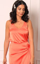 Satin V Neck Cami Wide Strap Vest Top in Coral Orange by One Nation Clothing