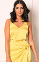 Satin V Neck Cami Wide Strap Vest Top in Lemon Yellow by One Nation Clothing