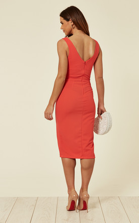 Coral Midi Dress with Thigh Slit by WalG