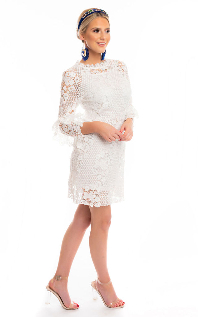 Aurora Lace Mini Dress with Frill Sleeves in White by Miss Attire