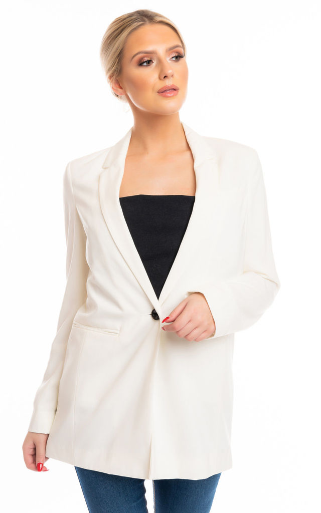 One Button Blazer in Ivory by Miss Attire
