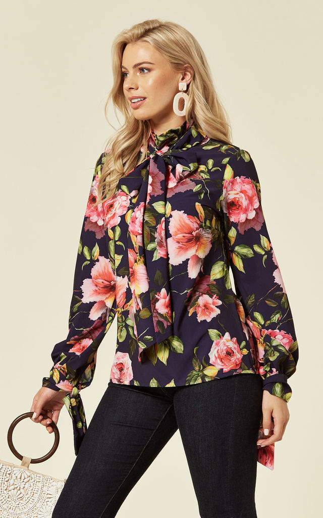 Pussy Bow Blouse in Purple Gardens Floral Print by House Of Lily