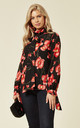 Pussy Bow Blouse in Poppy Blast Black and Red Floral Print by House Of Lily