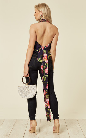 Drape Backless Tie Top in Purple Gardens Floral Print by House Of Lily