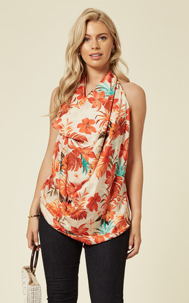 Backless Drape Top in Beige Tropics Floral Print by House Of Lily