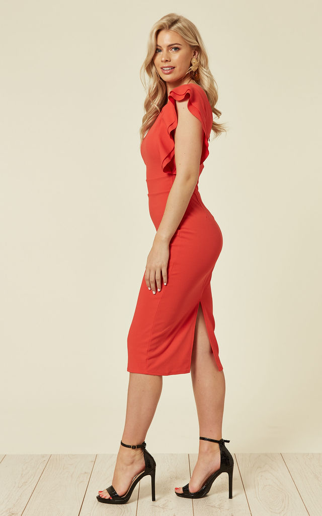 Emily Coral Frill Sleeved Midi Dress by WalG