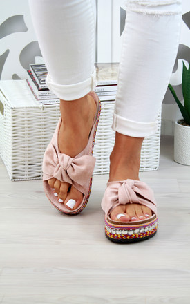 Pink Bow Embellished Slider Sandals by Larena Fashion