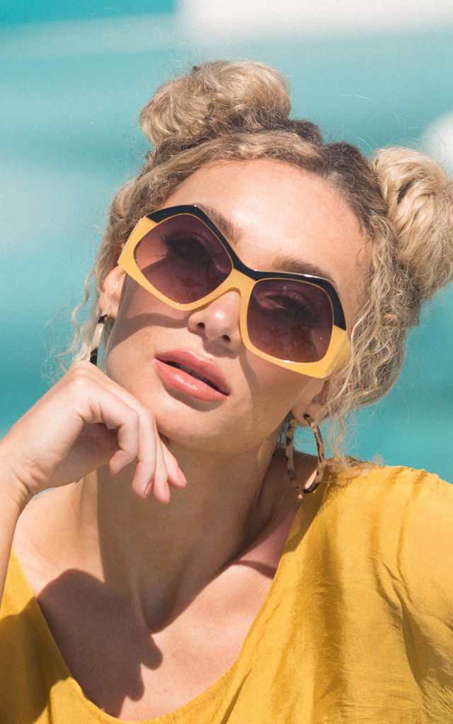Hello Yellow Oversized Sunglasses by De Las Flores
